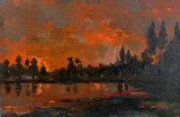 Work of R. Dainelli - Tramonto oil canvas